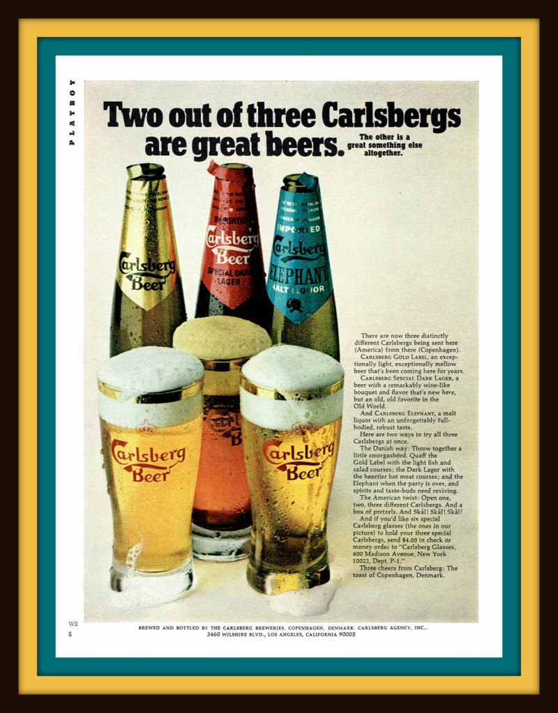 1971 Carlberg Beer from Copenhagen vintage print ad- Two out of three Carlsbergs are great beers- Ephemera, frame, nostalgia, decor de catchingcanaries