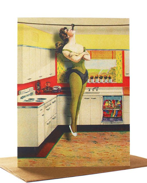 Kitchen Aerials, Quirky Greeting Card, Retro Greeting Card, Vintage Kitchen, Collage Art Card, Mother's Day Card, Blank Card de FloatingGirl