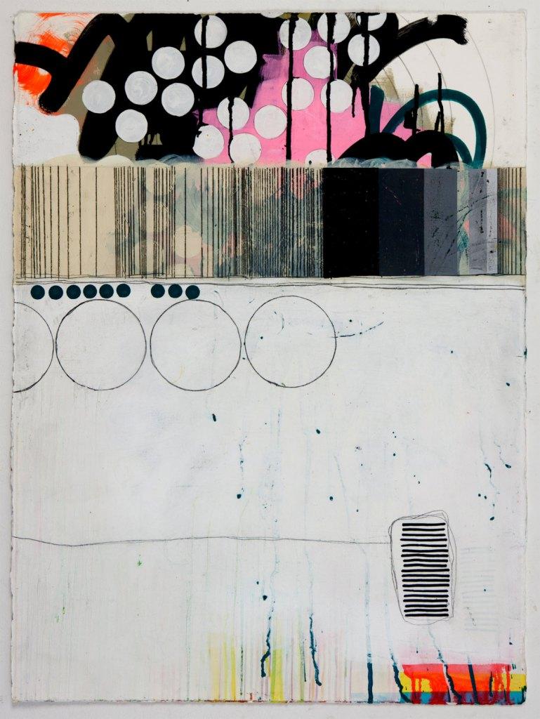 30x22 Geometric Abstract Painting, White, Black & Pink NY1021 de JenniferSanchezArt