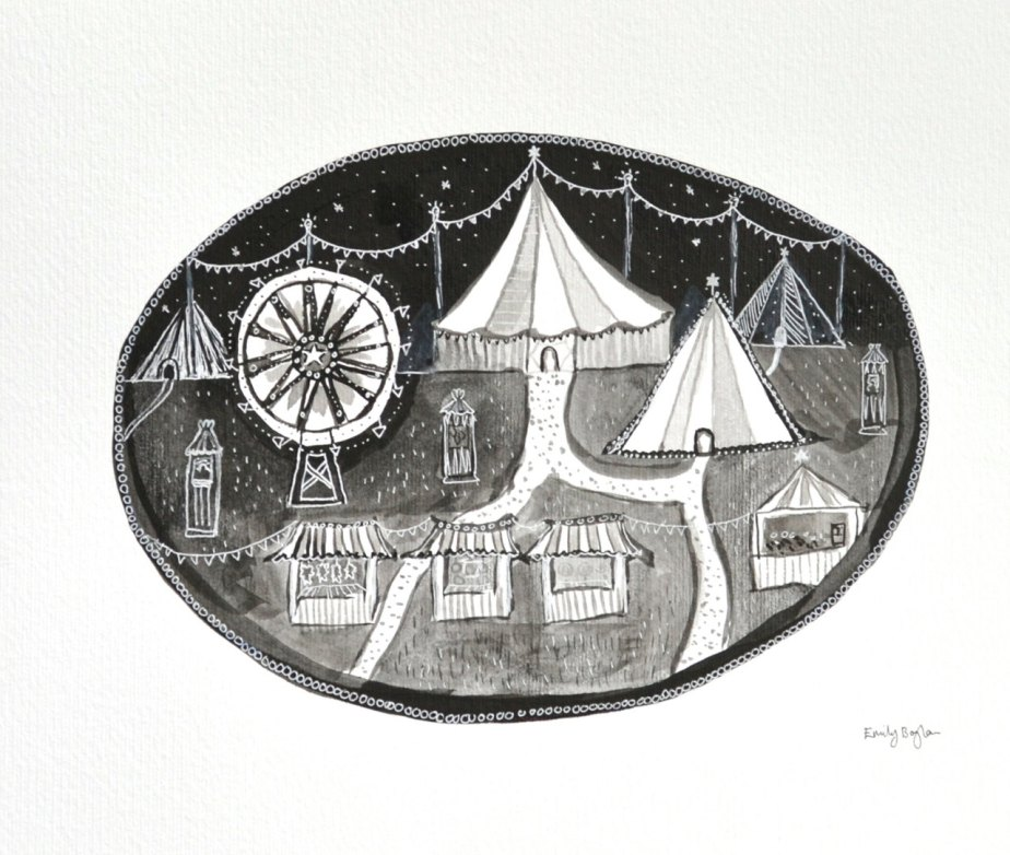 Night Carnival, 12 by 10 Carousel, Circus Night, Black & white nursery decor, gothic carnival, monochrome fairground, Original Ink Painting de WishlistArt
