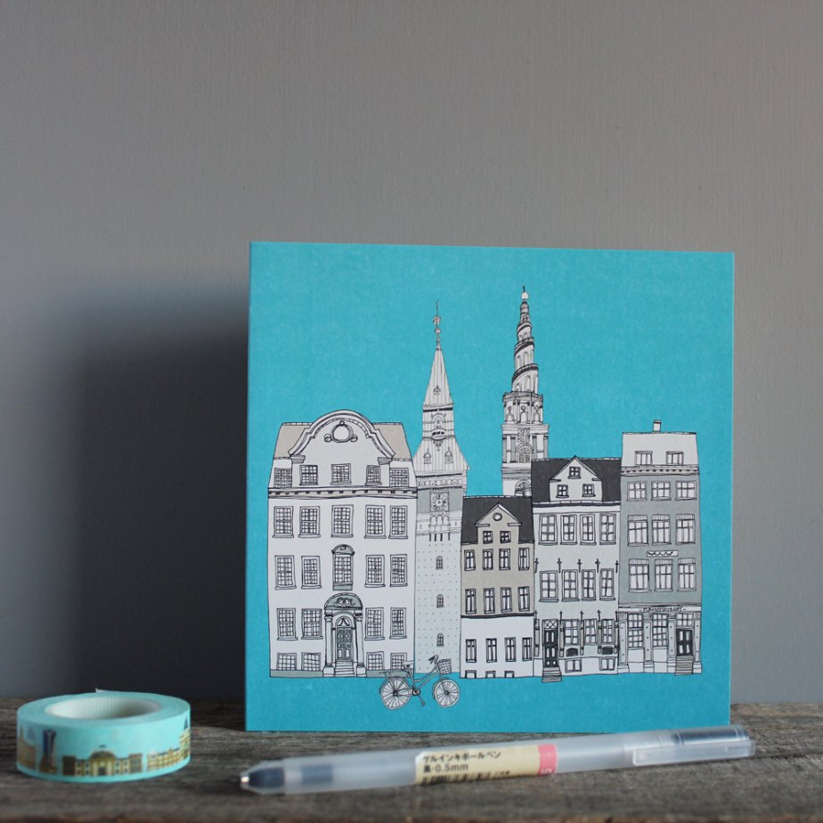 Copenhagen Greetings Card Eco Scandinavian Design de helenacarrington