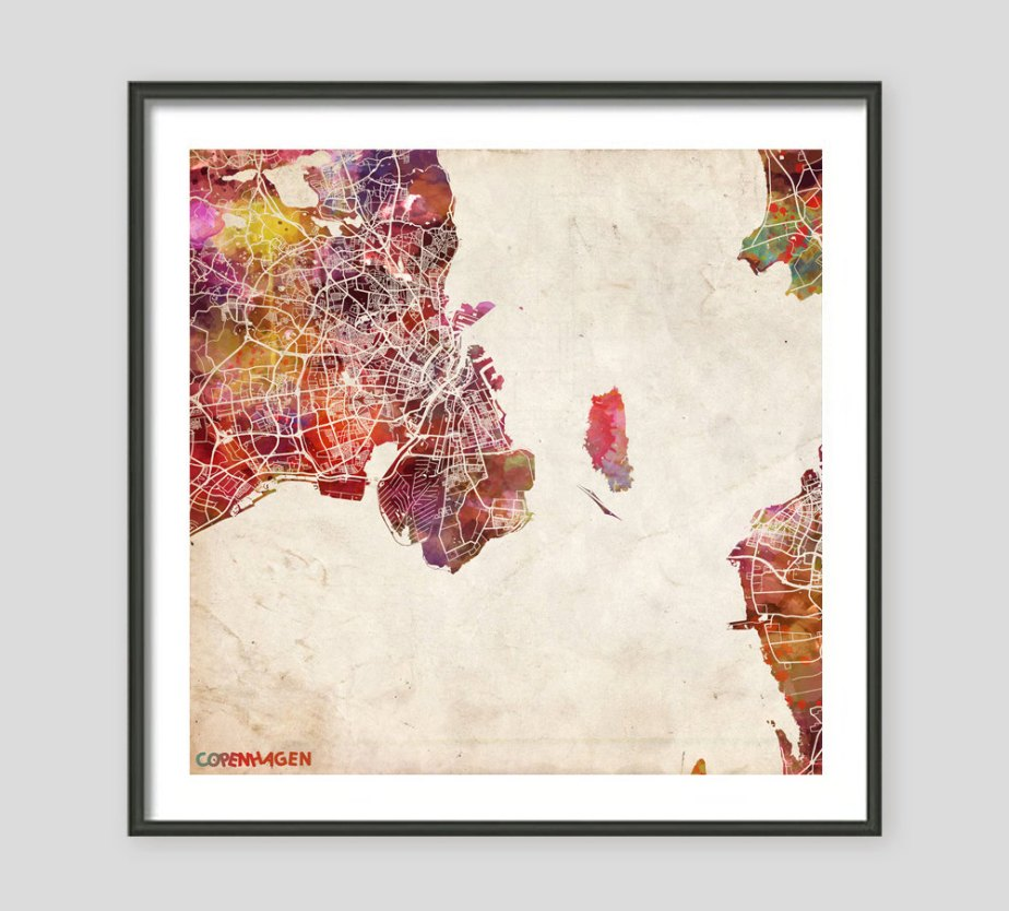 COPENHAGEN Map, Watercolor painting, Danemark, Giclee Fine Art, Modern Abstract, Poster Print, Wall Art, Home Decor, Decoration de MapMapMaps