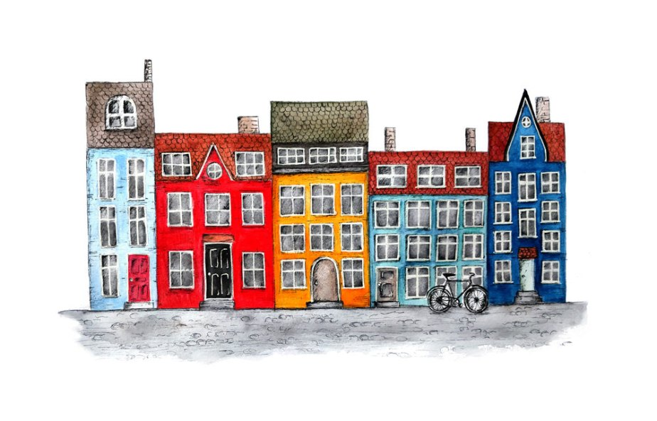 Danish row houses, Nyhavn, Copenhagen: watercolor and pen and ink, wall art - art print de archsehgal
