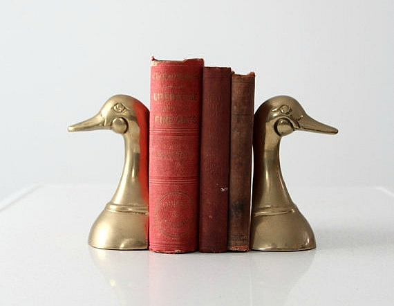 SALE mid-century brass duck bookends de 86home