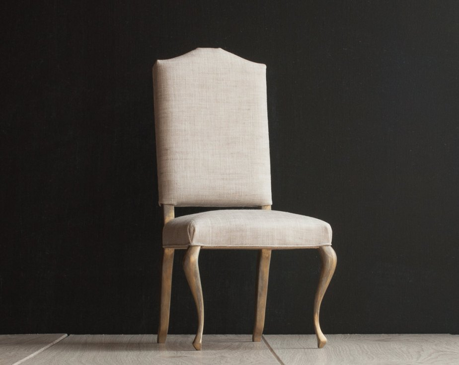 1/4 scale Upholstered Doll Dining Chair with Natural Color Linen Upholstery, playscale chair with slightly worn golden cabriole legs de toteetoy
