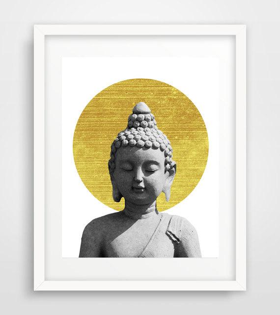 Buddha poster, Grey Buddha print, Buddha statue, gold circle, Buddha wall print, Buddha Wall Art, Buddhism Art, Yoga Print, Namaste art de Ikonolexi