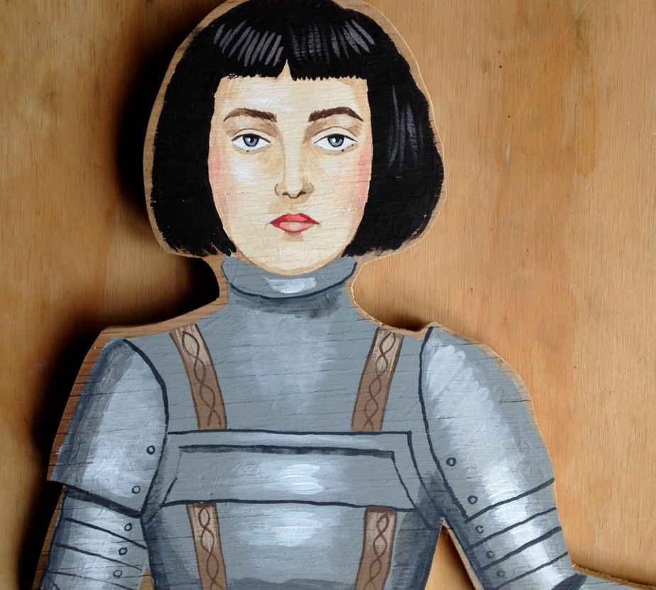One of a kind original hand painted wooden artwork - Joan of Arc de Sandra Eterovic