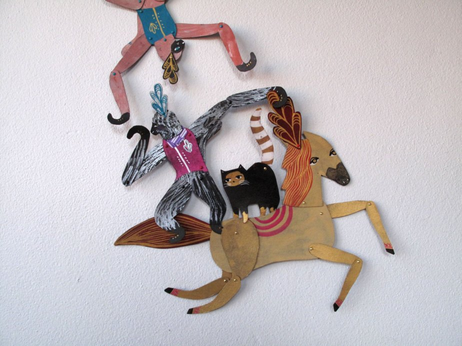 Circus Trio Bundle V1 / 3 piece set Plumed Horse Cat Monkey Articulated Decoration / Hinged Beasts Series de benconservato