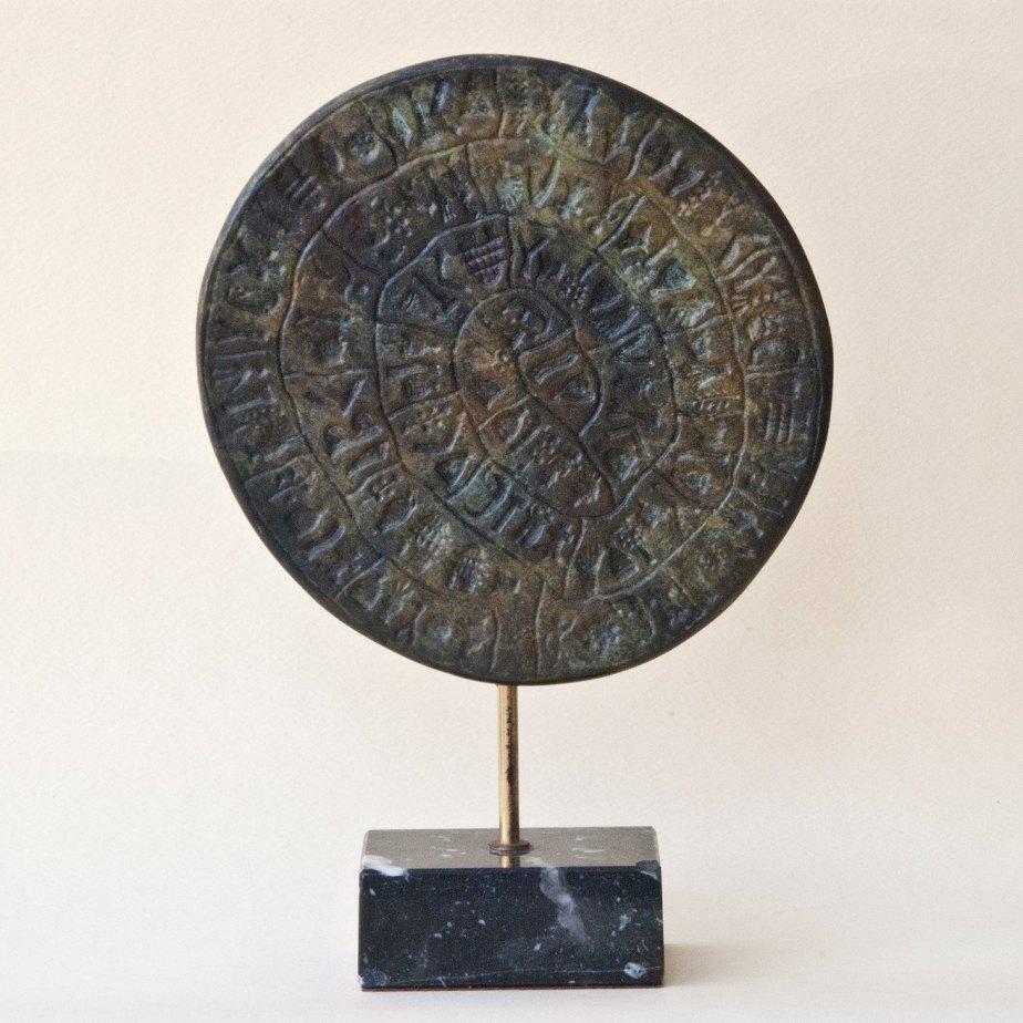 Greek Phaistos Disc Metal Sculpture, Minoan Crete Greek Art Sculpture, Museum Replica Ancient Mystery Disc, Greek Decor, Art Gift, Art Decor de GreekMythos