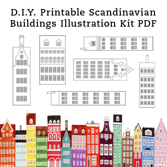 DIY Scandinavian Buildings and Houses Printable Illustration Art Craft Kit PDF 8.5 x 11 de annasee