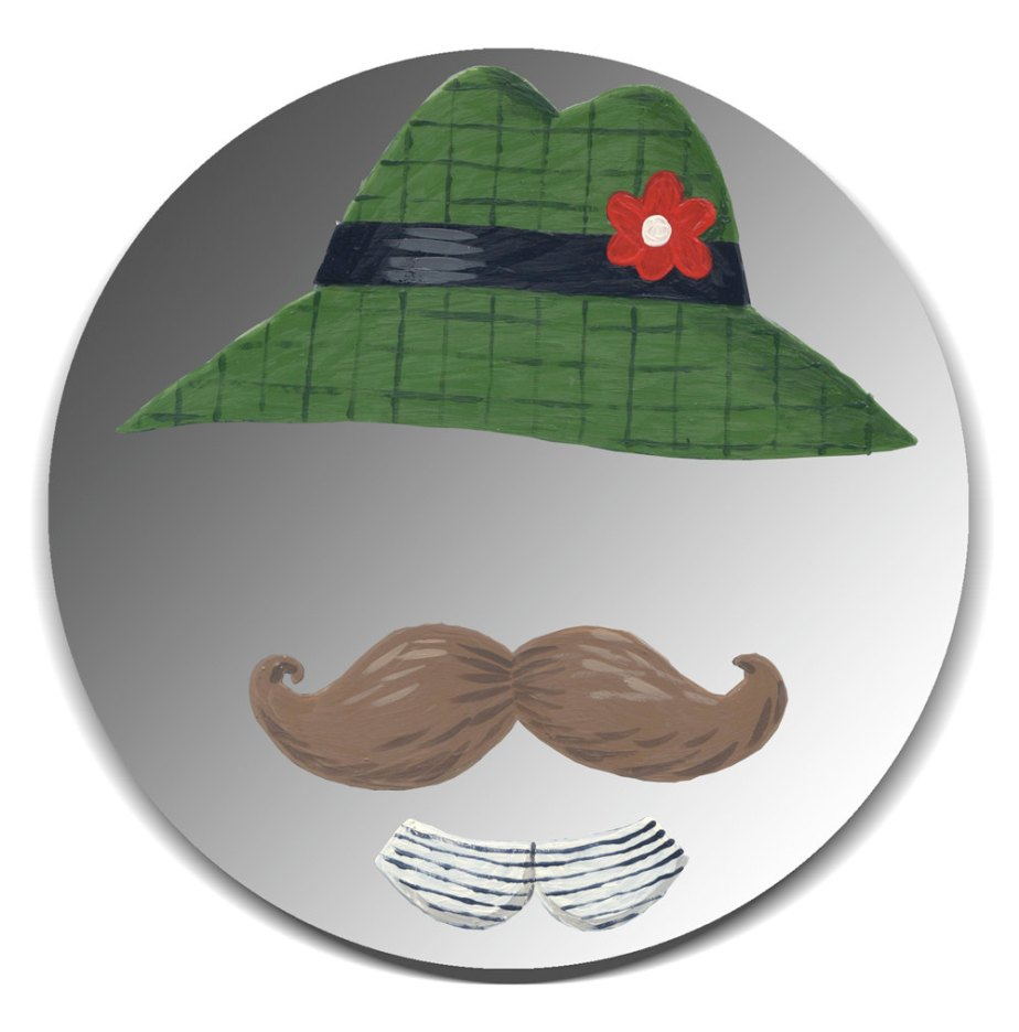 Hand painted mirror - Gentleman with Green Hat and Moustache de Sandra Eterovic