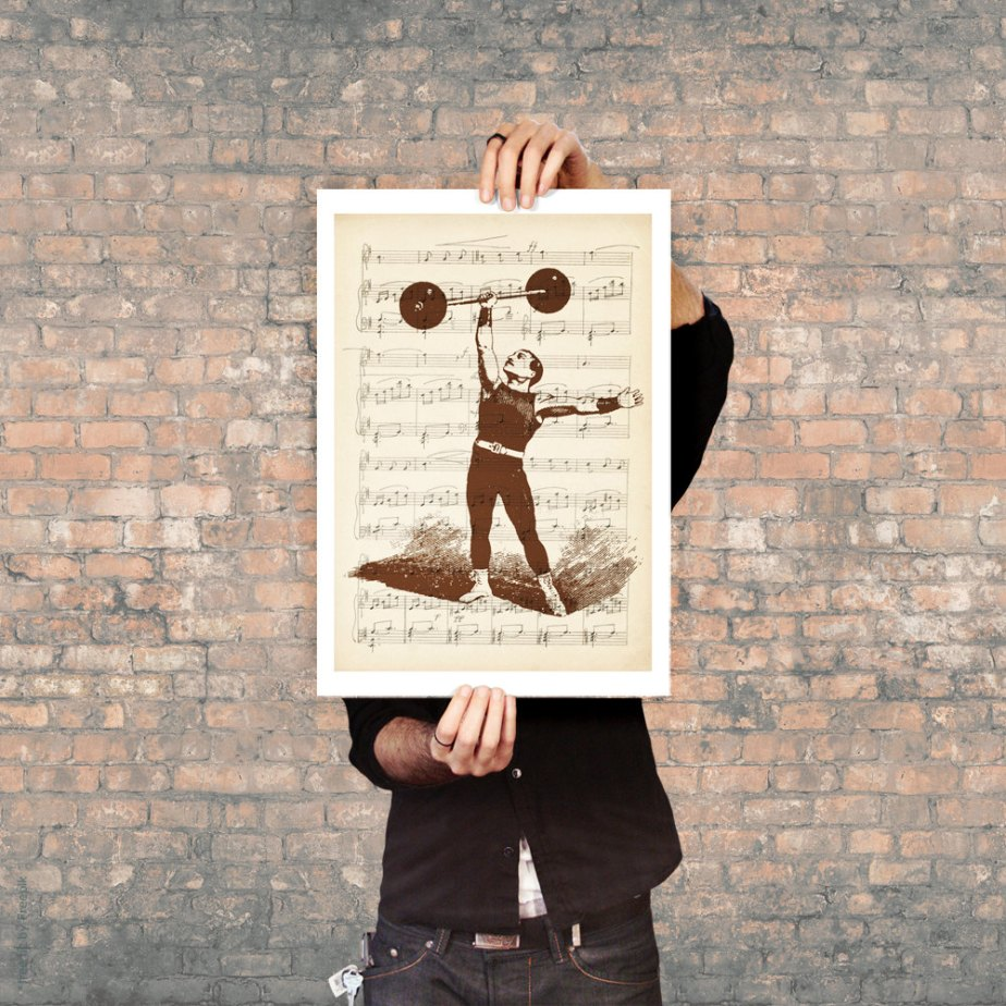 Carnival Vintage - Strongman Illustration - Athletic Competitions - Vintage Print - Old Circus -Mixed Media de DigitalDraft