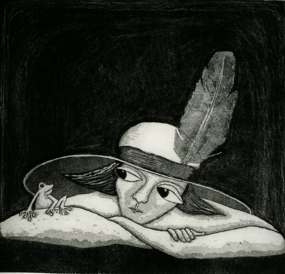 etching, Feather in my Hat, black and white, frog, hat, prince, love, romance, dating, home interior, monochrome, printmaking, modern art, de mariannjohansenellis