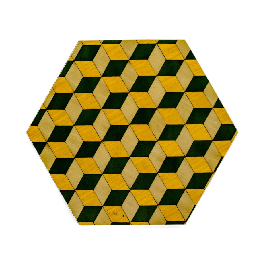 4 Yellow Placemats Hexagon Placemats Art Deco Placemat Yellow Place Mat Housewarming Gift Retro Placemats Green Yellow Placemats Geometric de EInderDesigns