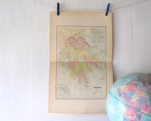 Map of Greece - Vintage Map Greece - Original Lithograph Print - Peoples World Family Atlas de PaperBoysVintage