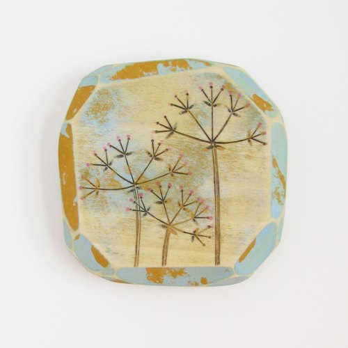 Modern Wood Wall Art, Colorful Acrylic Paint, Modern Pyrography, Geometric Art, Umbels, Mustard & Sky Blue,Faceted Wood, Colorful Nature Art de UnaOdd