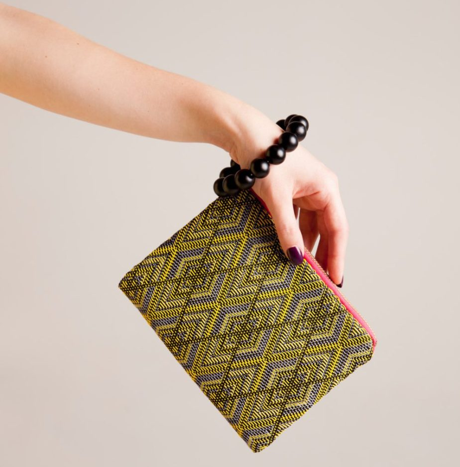Minimalist wristlet geometric pattern wristlet textile purse Yellow Zipper bag contemporary fashion vquadro vegan evening bag de vquadroitaly