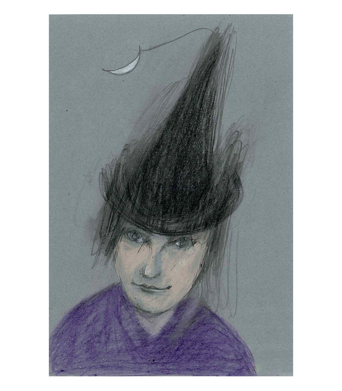 Witch original drawing illustration figurative woman portrait black hat small halloween de marina826