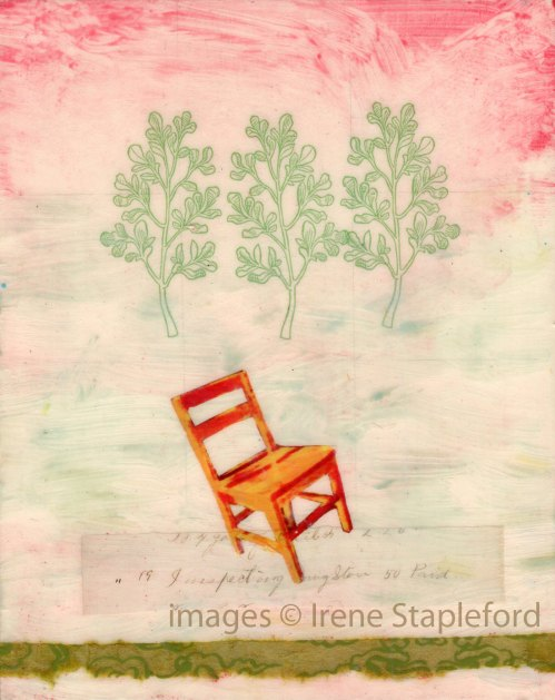 Presence (Tilting Chair) - original small painting with collage, one of a kind, home decor, spring - wantknot shop de wantknot