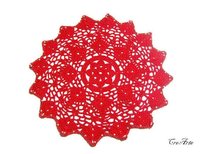Christmas Crochet Doily, Red Doily, Centrino Natale (Cod. 76) de CreArtebyPatty