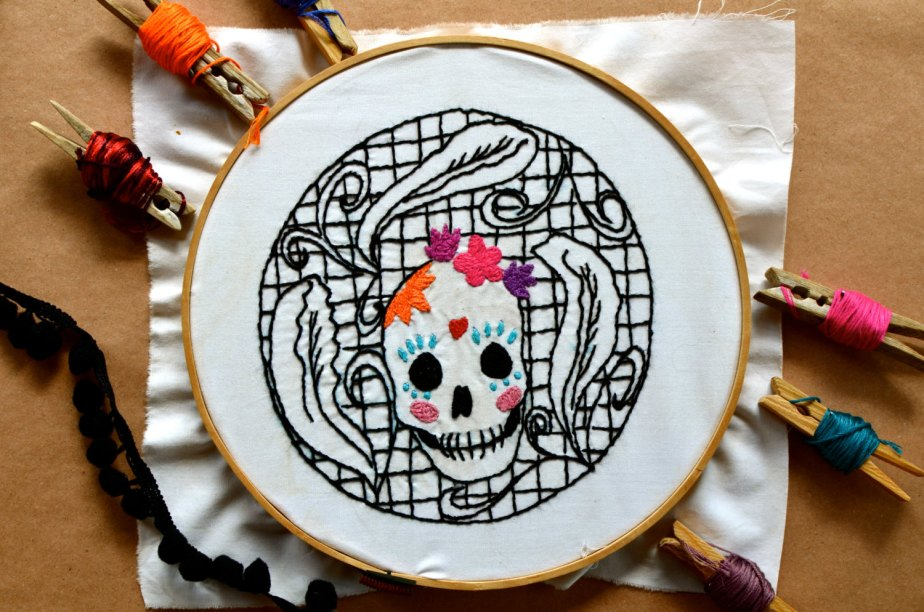 Mexican Candy Skull Couples Calavera Embroidery Pattern PDF file de Vebo