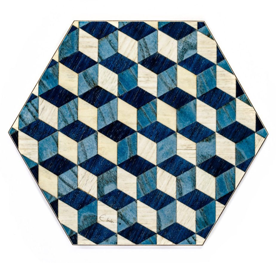 4 Hexagon Placemats Hexagon tablemats Blue White Placemat Modern Hexagon tablemat Hexagon place mats hexagonal place mats hexagon dining mat de EInderDesigns