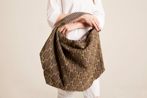fabric hobo bag,Oversized hobo Every Day purse slouchy shoulder bag Made in Italy fabric purse Sac Bag Oversized shoulder purse Brown green de vquadroitaly