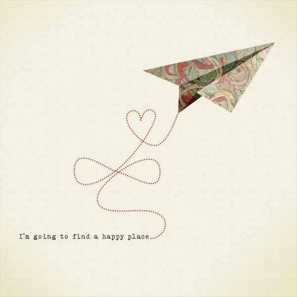 I am going to find a happy place Print 8 x 11.5 - Home Decor digital illustration airplane origami heart fly freedom cream natural de teconlene