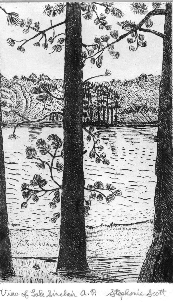 View of Lake Sinclair - Etching & Engraving, Hand-printed original print, miniature, black and white, lake house decor, etching, pine tree de StephanieScottArtist
