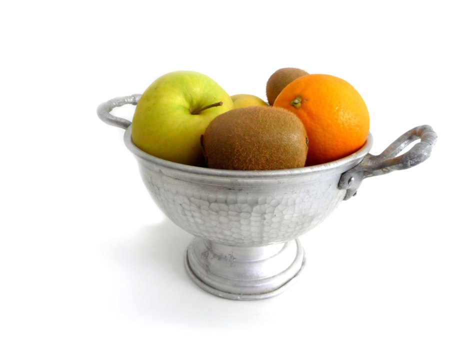Vintage Aluminum Fruit Bowl - Mid Century Italian Pedestal Bowl with Handles - Tray, Serving Centerpiece, Fruit Basket - 1950s de madlyvintage