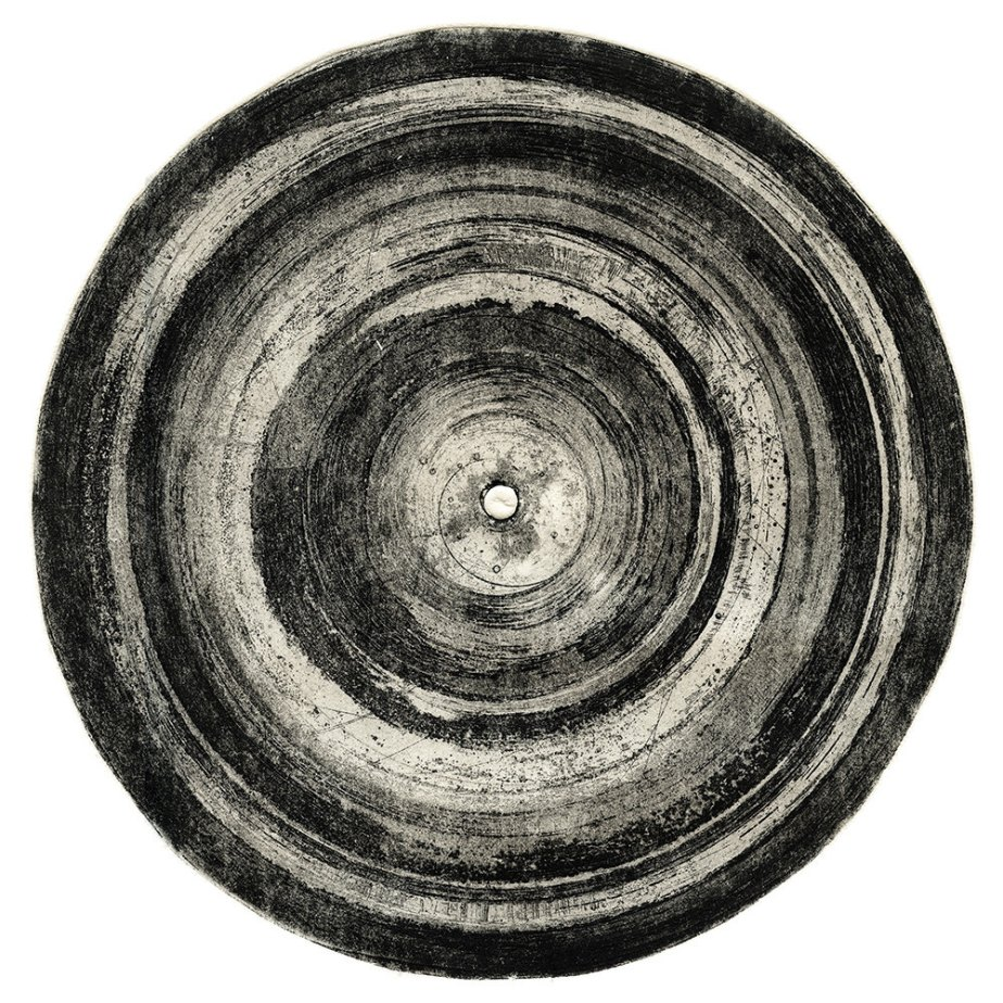 Circle etching art print. Aquatint and etching in black ink. Round by the way de PaoloDurandettoArts