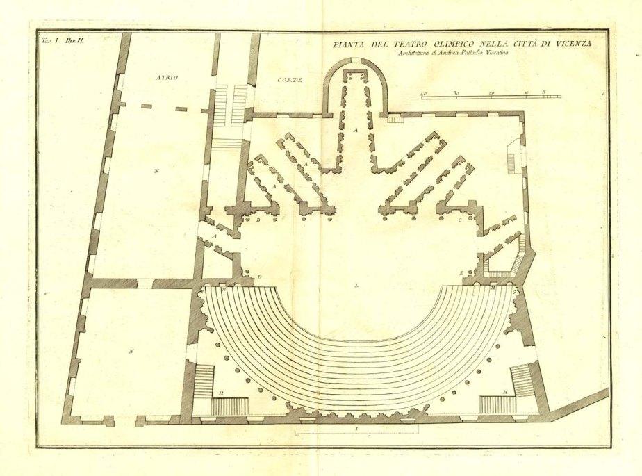 1760 Antique Architectural Print Palladio Teatro Olimpico de Vicenza Floor Plan de CarambasVintage