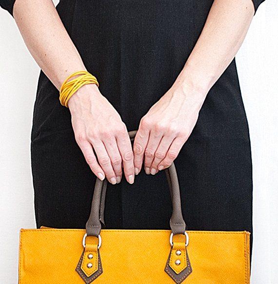 Yellow bracelet // Ladies minimalist Bracelet // Multi strands bracelet // Cuff bracelet // Suede bracelet // Summer Bracelet de TheSeaLovers