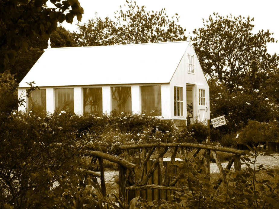 Greenhouse on the Garden Path, Sepia Photography, Farmhouse Decor, White Decor, French Country Cottage, Rustic Art, Gallery Wall, Eye Candy de CrazyFabBoutique