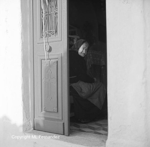 Cyclades islands, black and white photograph, Mykonos Greece, Mediterranean island, vintage photo, woman of Mykonos, year 1968, wall decor de ShadowsOverTime