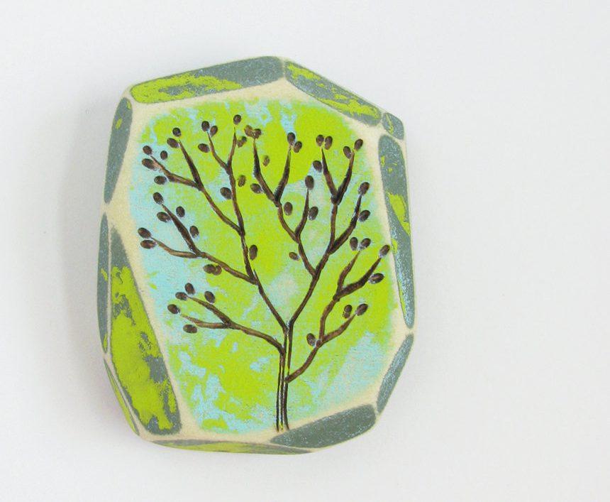 Modern Wood Wall Art, Colorful Acrylic Paint, Modern Pyrography, Geometric Art, Faceted Wood, Wood Burning, Spring Tree de UnaOdd