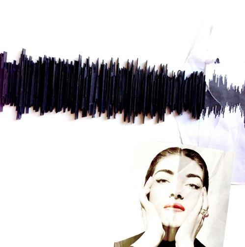 Maria's Callas voice sculpture hand made original artwork paper sculpture 3d wall decor modern home decoration black design de popRenaissance