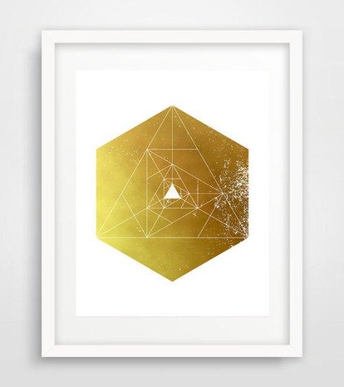 Printable hexagonal, Gold Hexagon print, Hexagon Poster, Geometric Wall Art, Geometric Art Print, Geometric Art, Scandinavian art de Ikonolexi