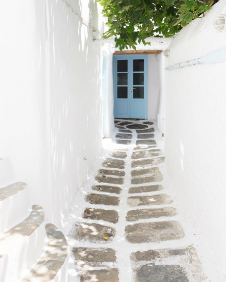 Greece photography - white blue wall art - narrow street - whitewash town - blue door - greece travel print 8x10