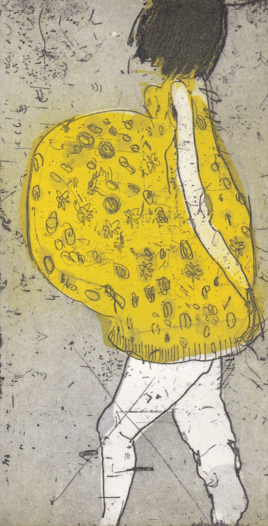 Pregnant women in a yellow dress, Original etching, intaglio print, Fine Art Printmaking, Maternity dress, Floral dress, flowers, baby bump de irishprintmakers