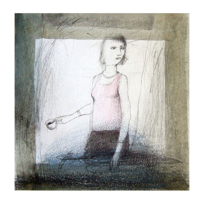 Woman Coffee original drawing people illustration figurative square de marina826