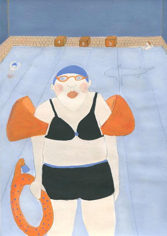 Woman portrait swimmer swimming pool shark funny illustration whimsical wall art A4 size blue decor giclee print art print gift for swimmer de jokamin