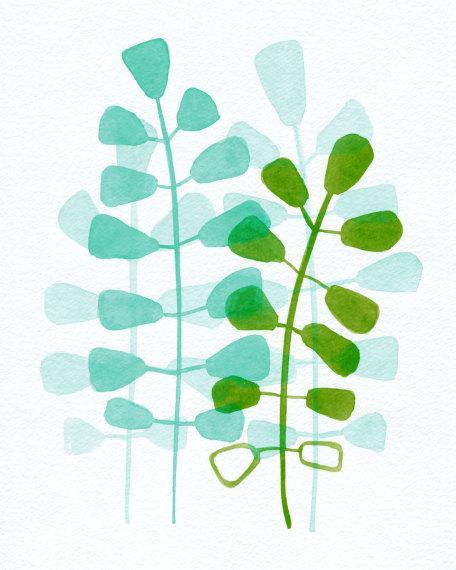 Aqua Green Leaves - 8x10 11x14 fine art print de ClarySageMoon