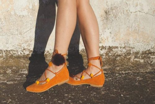 aelia/lace up/pointed toe flats/orange camel /greek designer/pom pom /gold coins/handmade shoes/pointy flat de aeliasandals