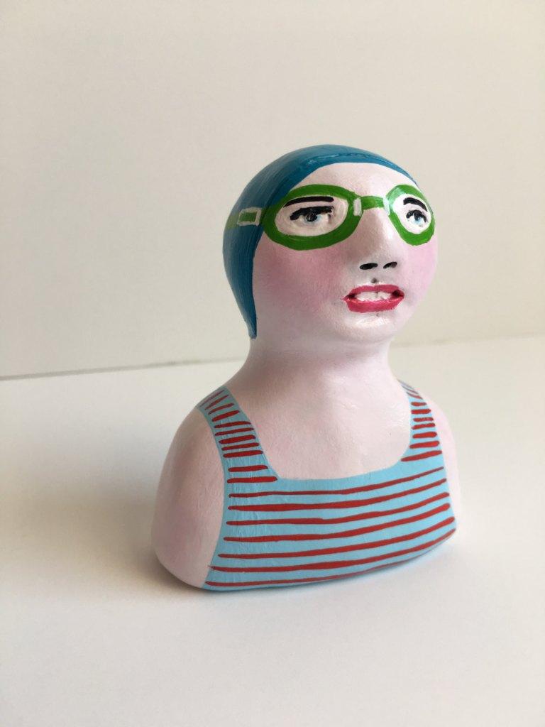 Clay figurine // SWIMMER 67 clay sculpture // totem // light blue red stripe bathing suit // blue swim cap & goggles // original art de IsabellaDiSclafani