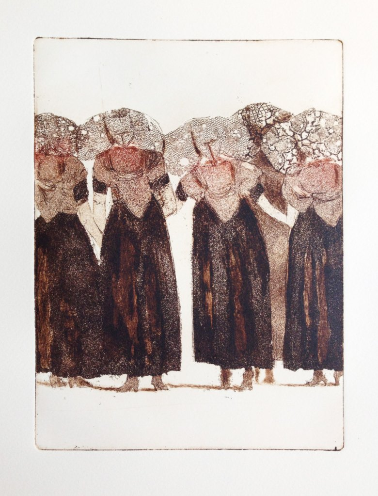 original etching and aquatint of a group of ladies wearing traditional Dutch costume: 'Zeeuwse Babbelaars' de atelier28
