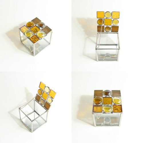 Stained Glass Box, Amber Glass, Jewelry Box, Decorative Box, Minimalist Design, Geometric Style, Small Box, Mosaic Box, Mirror Base de glassDaisys