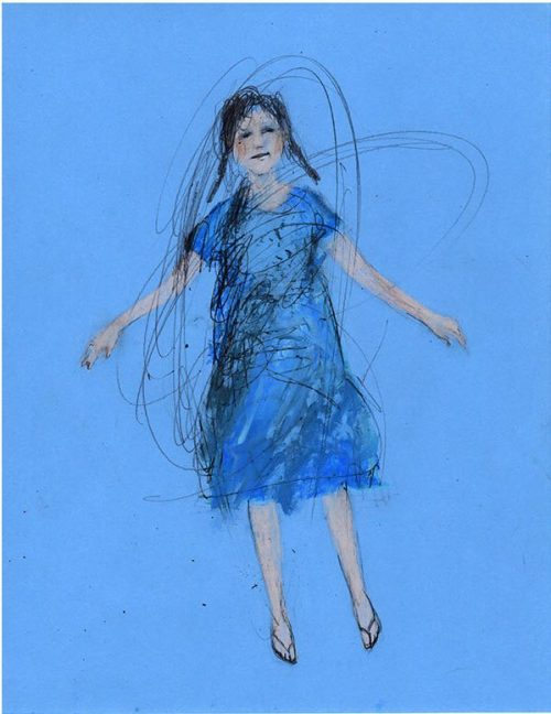 Girl blue dance drawing original art illustration woman figurative people pastel de marina 826