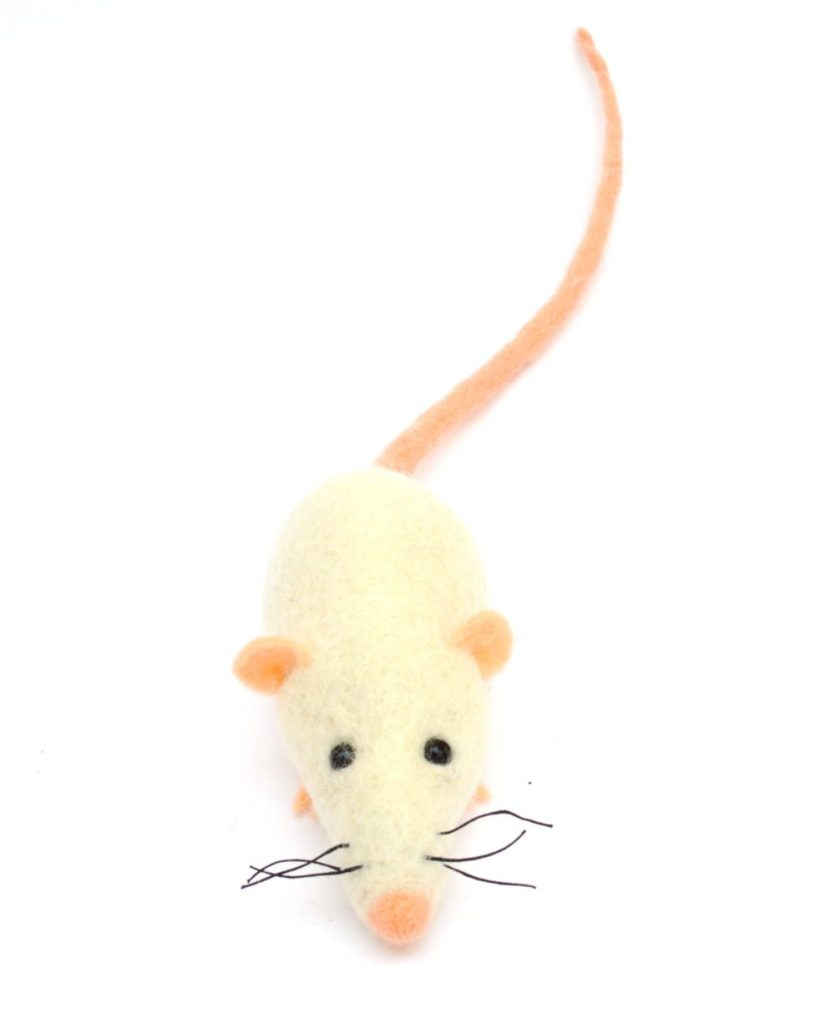 needle felted Halloween fun, white felt mouse, soft sculpture, mouse toy, spooky toy, halloween accessories, halloween party, scarey plush de mirtilio
