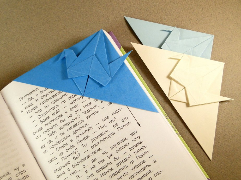 Origami Crane Bookmark Set of 3 - Blue, Dark Blue and Cream / Handmade / Origami Bookmark / Lovely Origami Things / Gifts for Her /Cute de MyPaperLab